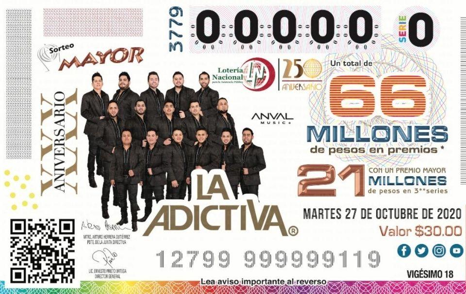 La Adictiva aparece en un boleto de la Lotería Nacional